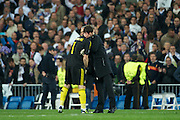 Champions League semi final second leg soccer match between Real Madrid and FC Bayern Munich at the Santiago Bernabeu stadium in Spain - <br /> MADRID 25/04/2012<br /> ESTADIO SANTIAGO BERNABEU.<br /> half final, Halbfinale, Semifinale,  CHAMPIONS LEAGUE<br /> REAL MADRID 2 - BAYERN 1<br /> picture: IKER CASILLAS. MOURINHO.- fee liable image, copyright © ATP QUEEN INTERNACIONAL<br /> <br /> Real MADRID vs Fc BAYERN Match 2:1 und 3:1 im Elfmeterschieflen - and 3:1 in penalty shooting - Queen photographer Fernando ALVAREZ