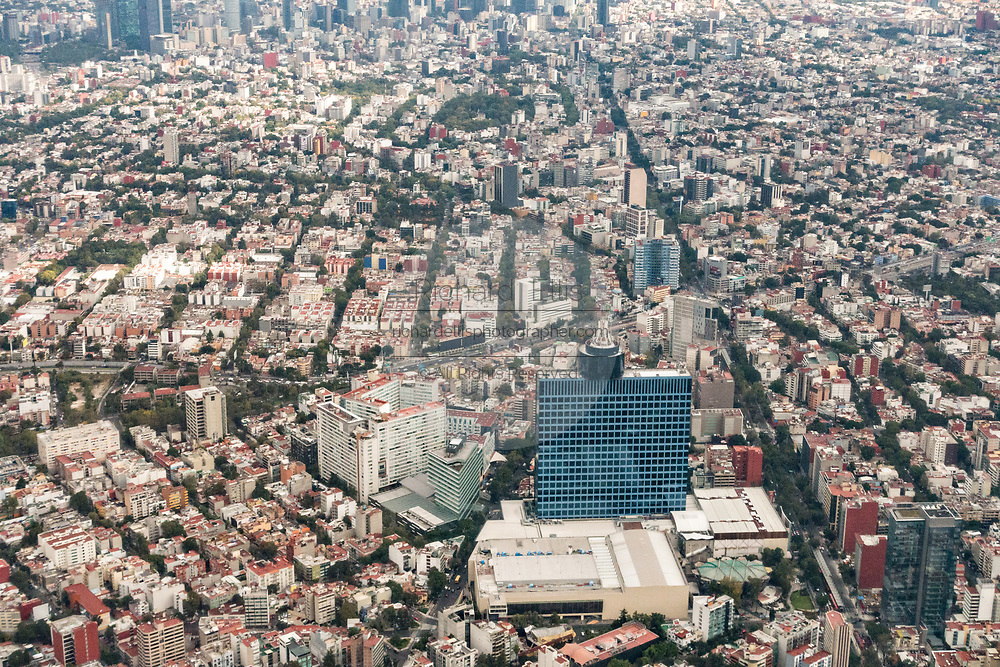 Aerial view showing the World Trade Center Mexico City in the Colonia Nápoles neighborhood October 25, 2017 in downtown Mexico City, Mexico. Mexico City is the capital of Mexico and and the most populous city North America.