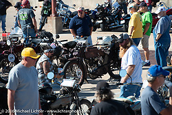 Bikes on display at the finish line in Dodge City, KS during the Motorcycle Cannonball Race of the Century. Stage-8 from Wichita, KS to Dodge City, KS. USA. Saturday September 17, 2016. Photography ©2016 Michael Lichter.