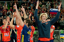 14-12-2010 VOLLEYBAL: CHAMPIONS LEAGUE ACH VOLLEY - OLYMPIACOS: LJUBLJANA SLOVENIA<br /> Alen Sket, Daniel Lewis, Kay van Dijk of ACH celebrate after winning the volleyball match between ACH Volley (SLO) and Olympiacos (GRE) in 4th Round of 2011 CEV Champions League<br /> ©2010-WWW.FOTOHOOGENDOORN.NL
