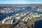 Nederland, Noord-Holland, Amsterdam, 11-12-2013; Westelijk Havengebied, Jan van Riebeeckhaven met rechts de olietanks van de Petroleumhaven. Noordzeekanaal in de achtergrond.<br /> Western harbor area, Jan van Riebeeck Haven, to the right the oil tanks of the Petroleumharbour and Northsee canal.<br /> luchtfoto (toeslag op standaard tarieven);<br /> aerial photo (additional fee required);<br /> copyright foto/photo Siebe Swart.