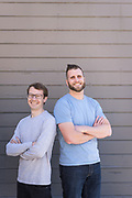 Workona co-founders Quinn Morgan (left) and Alma Madsen pose for a portrait at Workona in San Mateo, California, on December 16, 2019. (Stan Olszewski for Silicon Valley Business Journal)