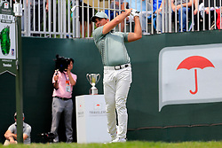 June 24, 2018 - Cromwell, CT, U.S. - CROMWELL, CT - JUNE 24: Jason Day of Australia hits from the 1st tee during the Final Round of the Travelers Championship on June 24, 2018 at TPC River Highlands in Cromwell, Connecticut. (Photo by Fred Kfoury III/Icon Sportswire) (Credit Image: © Fred Kfoury Iii/Icon SMI via ZUMA Press)