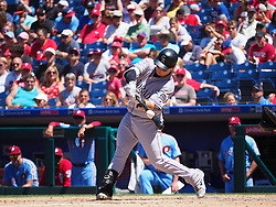 June 14, 2018 - Philadelphia, PA, U.S. - PHILADELPHIA, PA - JUNE 14: Colorado Rockies Catcher Tony Wolters (14) makes contact with a pitch during the MLB baseball game between the Philadelphia Phillies and the Colorado Rockies on June 14, 2018 at Citizens Bank Park in Philadelphia, PA. The Phillies won 9-3. (Photo by Andy Lewis/Icon Sportswire) (Credit Image: © Andy Lewis/Icon SMI via ZUMA Press)