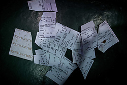 May 5, 2018 - Louisville, Kentucky, U.S. - Wager tickets lay on the ground on Kentucky Derby Day in Louisville, Kentucky, Friday, May 5, 2018 (Credit Image: © Bryan Woolston via ZUMA Wire)
