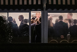 © Licensed to London News Pictures. 16/12/2019. London, UK. Prime Minister Boris Johnson (C) watched Sir Graham Brady (R) and other MPs on the terrace at Parliament as he meets with newly elected MPs. Parliament will sit tomorrow with newly elected MPs taking their seats ahead of the State Opening of Parliament on Thursday. Photo credit: Peter Macdiarmid/LNP