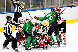 Roughing between players during ice hockey match between HK SZ Olimpija and HDD SIJ Acroni Jesenice in first game of Final at Slovenian National League, on April 30, 2020 in Hala Tivoli, Ljubljana, Slovenia. Photo by Matic Klansek Velej / Sportida