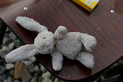 October 27, 2016 - Calais, Nord-Pas-de-Calais-Picardie, France - A stuffed rabbit has been left behind in the abandoned L'ÄôEcole Laique du Chemin des Dunes in the Jungle. The 4th day of the eviction of the jungle in Calais saw the continue demolition of the huts in the Jungle, as well as the first arrests of people who didn'Äôt leave and some minor clashes with activists opposed to the eviction. (Credit Image: © Michael Debets/Pacific Press via ZUMA Wire)