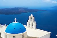 Grèce, Les Cyclades, Ile de Santorin (Thira), village de Firostefani // Greece, Cyclades, Santorini island, Firostefani village