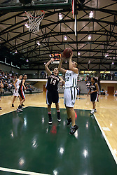 10 January 2009: Stacey Arlis gets free of Lynnea Kvam for a short jumper. The Lady Titans of Illinois Wesleyan University downed the and Lady Thunder of Wheaton College by a score of 101 - 57 in the Shirk Center on the Illinois Wesleyan Campus in Bloomington Illinois.