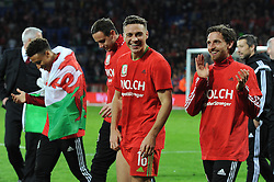 James Chester of Wales celebrates as they qualify for Euro 2016 - Mandatory byline: Dougie Allward/JMP - 07966 386802 - 13/10/2015 - FOOTBALL - Cardiff City Stadium - Cardiff, Wales - Wales v Andorra - European Qualifier 2016 - Group B