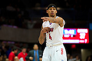 DALLAS, TX - JANUARY 21: Keith Frazier #4 of the SMU Mustangs looks on against the Rutgers Scarlet Knights on January 21, 2014 at Moody Coliseum in Dallas, Texas.  (Photo by Cooper Neill/Getty Images) *** Local Caption *** Keith Frazier