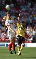 Photo: Tony Oudot.<br /> Watford v Southampton. Coca Cola Championship. 16/09/2007.<br /> Grzegorz Rasiak heads the ball for Southampton