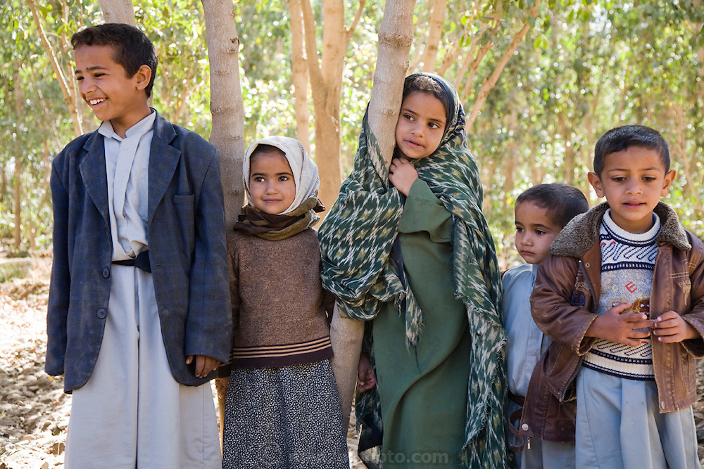 Children stand in a qat orchard near the Rock Palace outside Sanaa, Yemen. Although qat chewing isn't as severe a health hazard as smoking tobacco, it has drastic social, economic, and environmental consequences. When chewed, the leaves release a mild stimulant related to amphetamines. Qat is chewed several times a week by a large percentage of the population: 90 percent of Yemen's men and 25 percent of its women. Because growing qat is 10 to 20 times more profitable than other crops, scarce groundwater is being depleted to irrigate it, to the detriment of food crops and agricultural exports.