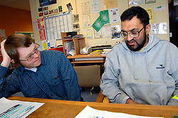 Men with learning disabilities in community centre; Bradford; Yorkshire UK
