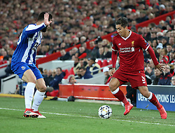 March 6, 2018 - Liverpool, U.S. - 6th March 2018, Anfield, Liverpool, England; UEFA Champions League football, round of 16, 2nd leg, Liverpool versus FC Porto; Roberto Firmino of Liverpool takes on Felipe of Porto (Photo by Dave Blunsden/Actionplus/Icon Sportswire) ****NO AGENTS---NORTH AND SOUTH AMERICA SALES ONLY****NO AGENTS---NORTH AND SOUTH AMERICA SALES ONLY* (Credit Image: © Dave Blunsden/Icon SMI via ZUMA Press)