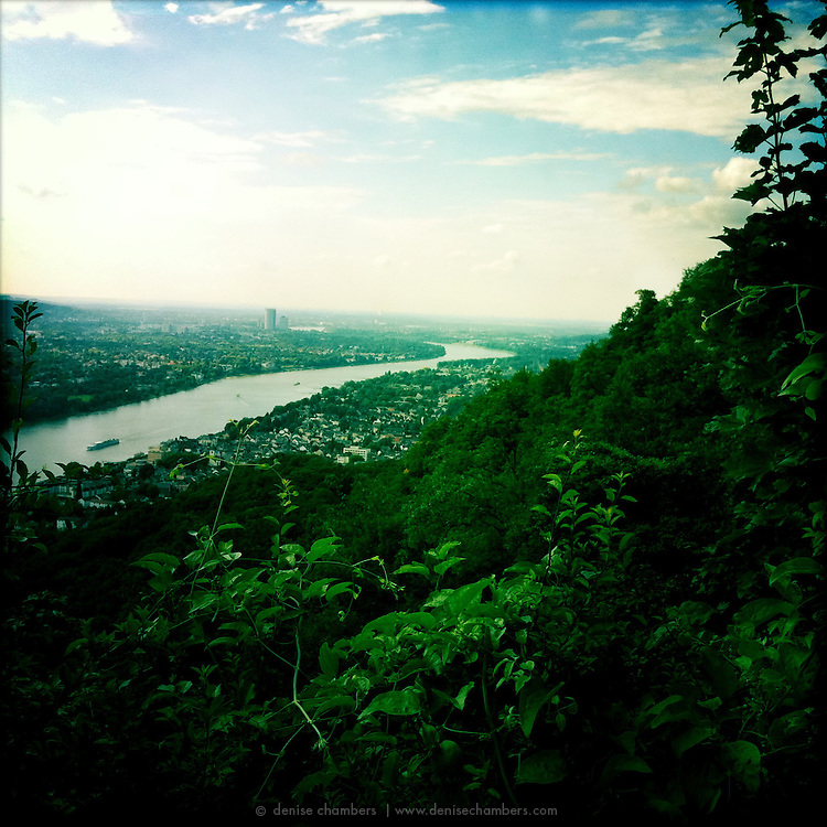 View of the Rhine river from the ruins of Drachenfels