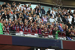 May 27, 2019 - London, England, United Kingdom - Aston Villa players celebrate after winning the EFL Championship Play-Off Final during the Sky Bet Championship Play Off Final between Aston Villa and Derby County at Wembley Stadium, London on Monday 27th May 2019. (Credit Image: © Mi News/NurPhoto via ZUMA Press)