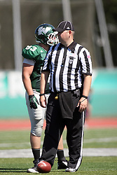 08 September 2012:  Umpire Bob Hansen during an NCAA division 3 football game between the Alma Scots and the Illinois Wesleyan Titans which the Titans won 53 - 7 in Tucci Stadium on Wilder Field, Bloomington IL