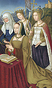 Anne of Brittany (1476-1514), Duchess of Brittany 1488. Married Charles VIII of France 1491, then Louis XII 1499. Coloured lithograph of miniature from 'Heures d'Anne de Bretagne' showing her at prayer supported by her patron saints Anne mother of the Virgin, Ursula with banner, and another saint.