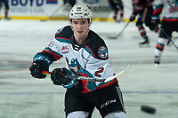 KELOWNA, BC - DECEMBER 27:  Liam Kindree #26 of the Kelowna Rockets warms up against the Kamloops Blazers at Prospera Place on December 27, 2019 in Kelowna, Canada. (Photo by Marissa Baecker/Shoot the Breeze)