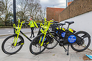 Electric bicycles for key workers are left outside St Thomas' Hospital, London - The 'lockdown' continues for the Coronavirus (Covid 19) outbreak in London.