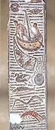 Late 4th century AD Roman mosaic depiction a fishing scene. From Cathage, Tunisia.  The Bardo Museum, Tunis, Tunisia. .<br /> <br /> If you prefer to buy from our ALAMY PHOTO LIBRARY  Collection visit : https://www.alamy.com/portfolio/paul-williams-funkystock/roman-mosaic.html - Type -   Bardo    - into the LOWER SEARCH WITHIN GALLERY box. Refine search by adding background colour, place, museum etc<br /> <br /> Visit our ROMAN MOSAIC PHOTO COLLECTIONS for more photos to download  as wall art prints https://funkystock.photoshelter.com/gallery-collection/Roman-Mosaics-Art-Pictures-Images/C0000LcfNel7FpLI