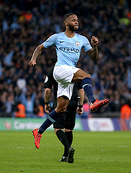 Manchester City's Raheem Sterling celebrates after scoring the winning penalty during the penalty shoot out of the Carabao Cup Final at Wembley Stadium, London.