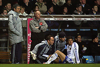 Photo: Paul Thomas.<br /> Aston Villa v Chelsea. The Barclays Premiership. 02/01/2007.<br /> <br /> Chelsea manager Jose Mourinho (L) comes over to see how treatment is going on his player Klahid Boulahrouz (White). Boulahrouz later goes off injured.