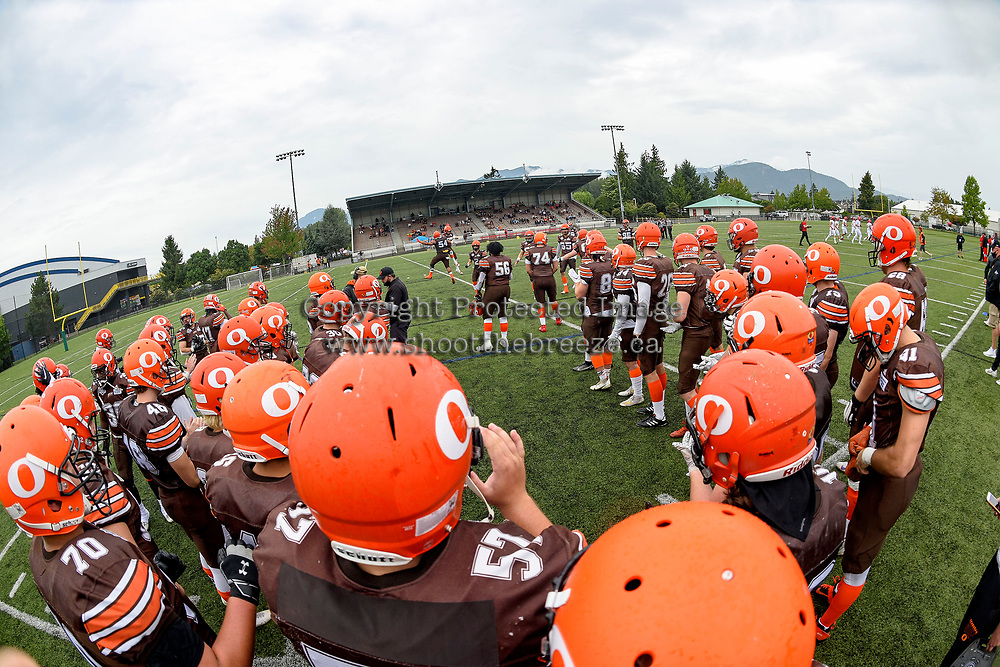 CHILLIWACK, BC - SEPTEMBER 11: The Okanagan Sun stand on the sideline against the Westshore Rebels at Exhibition Stadium in Chilliwack, BC, Canada. (Photo by Marissa Baecker/Shoot the Breeze)