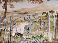 "a landscape with the Tiber river and an iron paling, watercolor painted; hand painted picture. this painting was inspired by a series of drawings by ""le lorraine"" it is an original composition of which I'm the sole author"