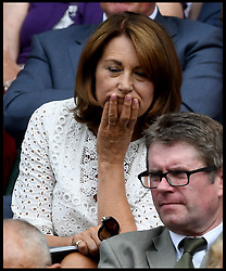 July 4, 2018 - London, London, United Kingdom - Wimbledon Tennis Championships-Day Three. The Duchess of Cambridge's Mother Carole Middleton sitting in the Royal Box with the Spanish footballer Gerard Piqué  Wimbledon Tennis Championships. (Credit Image: © Andrew Parsons/i-Images via ZUMA Press)