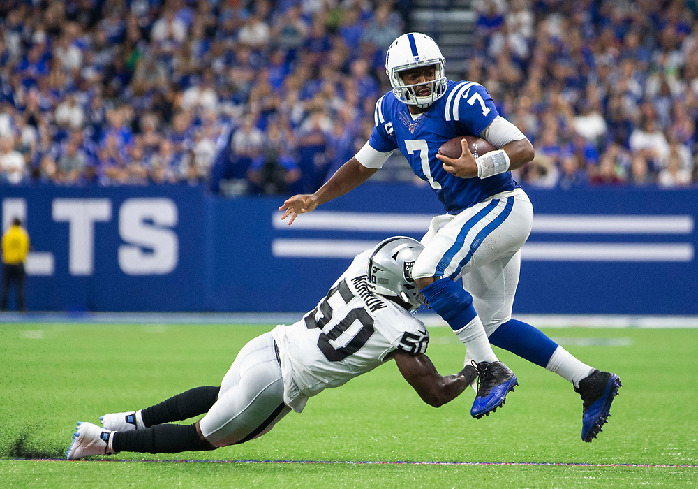 September 29, 2019:  Indianapolis Colts quarterback Jacoby Brissett (7) runs with the ball as Oakland Raiders linebacker Nicholas Morrow (50) attempts to make the tackle during NFL football game action between the Oakland Raiders and the Indianapolis Colts at Lucas Oil Stadium in Indianapolis, Indiana.  Oakland defeated Indianapolis 31-24.  John Mersits/CSM.