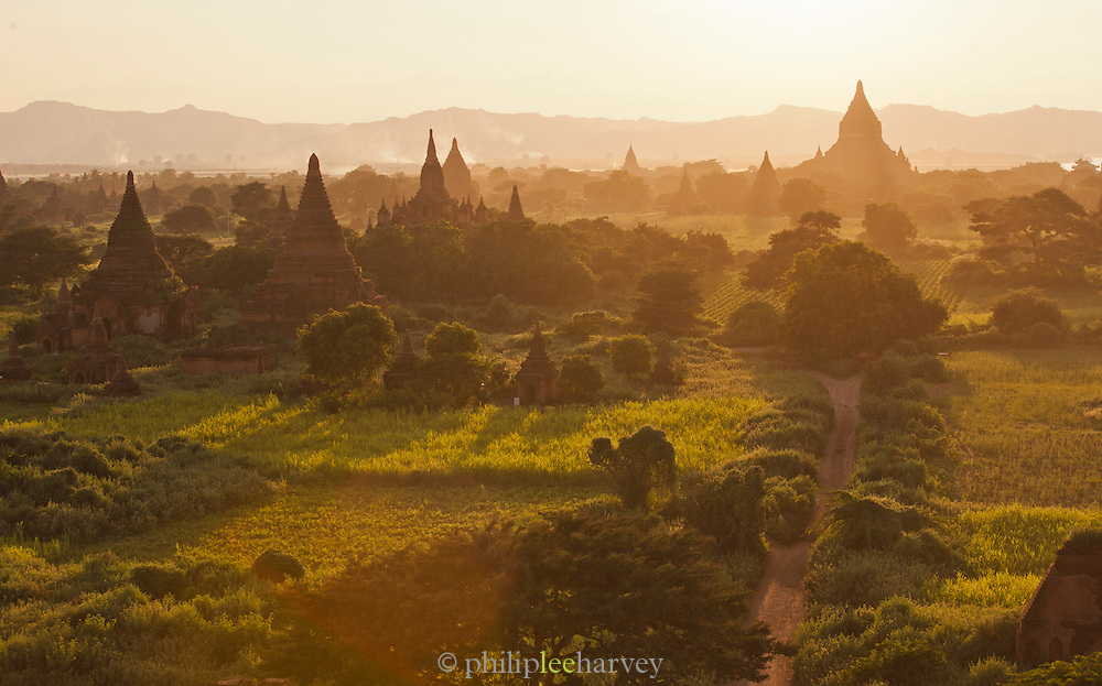 The temples and pagodas of the ancient city Bagan at sunset, in Myanmar