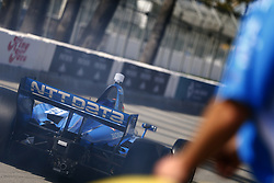 April 13, 2018 - Long Beach, California, United States of America - April 13, 2018 - Long Beach, California, USA: Ed Jones (10) speeds out of his pit box and out on pit road during practice for the Toyota Grand Prix of Long Beach at Streets of Long Beach in Long Beach, California. (Credit Image: © Justin R. Noe Asp Inc/ASP via ZUMA Wire)