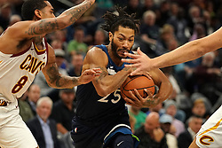October 19, 2018 - Minneapolis, MN, USA - The Minnesota Timberwolves' Derrick Rose (25) drives to the basket as the Cleveland Cavaliers' Jordan Clarkson (8) defends in the first half on Friday, Oct. 19, 2018, at the Target Center in Minneapolis. (Credit Image: © Anthony Souffle/Minneapolis Star Tribune/TNS via ZUMA Wire)