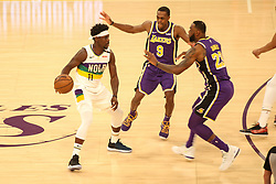 February 27, 2019 - Los Angeles, CA, U.S. - LOS ANGELES, CA - FEBRUARY 27: New Orleans Pelicans Guard Jrue Holiday (11) being double teamed during the first half of the New Orleans Pelicans versus Los Angeles Lakers game on February 27, 2019, at Staples Center in Los Angeles, CA. (Photo by Icon Sportswire) (Credit Image: © Icon Sportswire/Icon SMI via ZUMA Press)