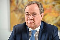 31 MAY 2021, BERLIN/GERMANY:<br /> Armin Laschet, CDU, Ministerpraesident Nordrhein-Westfalen und CDU Bundesvorsitzender, waehrend einem Interview, Landesvertretung NRW<br /> IMAGE: 20210531-01-011