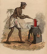 Dyeing skeins of silk,  India. Hand-coloured engraving published Rudolph Ackermann, London, 1822.