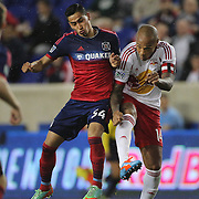 Thierry Henry, (right), New York Red Bulls, is challenged by Benji Joya, Chicago Fire, during the New York Red Bulls Vs Chicago Fire, Major League Soccer regular season match at Red Bull Arena, Harrison, New Jersey. USA. 10th May 2014. Photo Tim Clayton