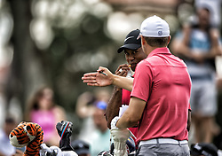 May 13, 2018 - Ponte Vedra Beach, FL, USA - The Players Championship 2018 at TPC Sawgrass..Tiger Woods talks with Jordan Spieth on #16 tee (Credit Image: © Bill Frakes via ZUMA Wire)