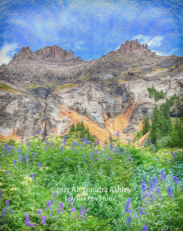Dreamlike rendering of the peaks and wildflowers of Yankee Boy Basin near Ouray, Colorado.  Bloom prevailed despite the drought conditions of spring to early summer 2012.