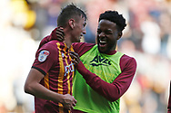 Bradford City's Paudie O'Connor(4) and Bradford City's Jermaine Anderson(18) celebrate at full time during the EFL Sky Bet League 2 match between Bradford City and Northampton Town at the Utilita Energy Stadium, Bradford, England on 7 September 2019.