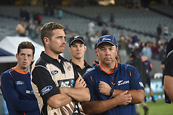 February 17, 2017 - Auckland, New Zealand - Tim Southee and Mitchell Santner of New Zealand look dejected after losing the international Twenty20 cricket match between South Africa and New Zealand in Auckland, New Zealand on Feb 17. (Credit Image: © Shirley Kwok/Pacific Press via ZUMA Wire)