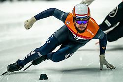 Sjinkie Knegt of Netherlands in action on 500 meter during ISU World Short Track speed skating Championships on March 05, 2021 in Dordrecht