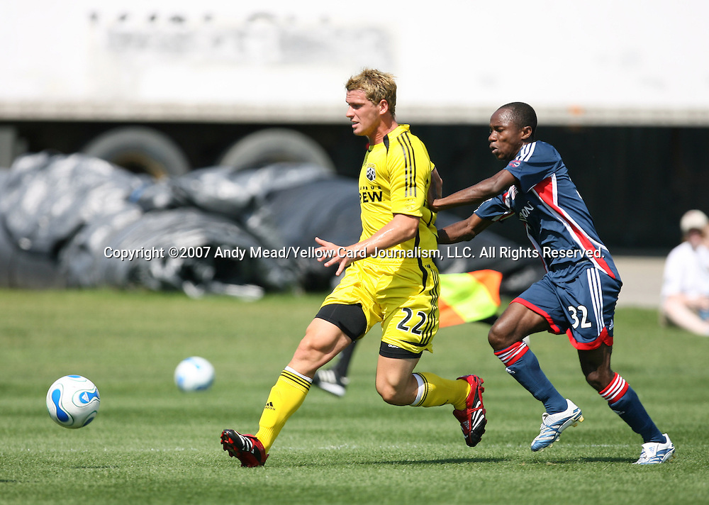 17 June 2007: Columbus's Richard Moodie (22) and New England's Arsene Oka (CIV). The New England Revolution Reserves defeated the Columbus Crew Reserves 2-1 on the Gillette Stadium practice field in Foxboro, Massachusetts in a Major League Soccer Reserve Division game.