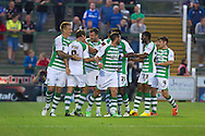 Edward Upson celebrates Yeovil Town first goal during the Capital One Cup match, 2nd round, Yeovil Town v Birmingham City at Huish Park in Yeovil on Tuesday 27th August 2013. pic by Sophie Elbourn, Andrew Orchard sports photography,