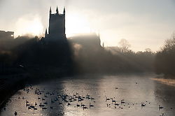 © under license to London News Pictures.  15/11/2010 A view of Worcester Cathedral and the river Severn early this morning (monday), surrounded in dense fog that covered a large part of the worcestershire countryside. Picture credit should read: David Hedges/London News Pictures