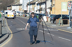 © Licensed to London News Pictures 09/03/2021. Bexley, UK. A 65 year old cyclist has been killed after a collision with a van on Bourne Road in Bexley, South East London. Ambulance crews and police attended along with the Air Ambulance but the man died at the scene. The road is cordoned off by police while an investigation takes place. Photo credit:Grant Falvey/LNP