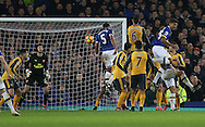 Ashley Williams of Everton heads the winning goal during the English Premier League match at Goodison Park Stadium, Liverpool. Picture date: December 13th, 2016. Pic Simon Bellis/Sportimage